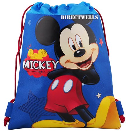 Mickey Mouse Character Licensed Blue Drawstring Bag (Softball Drawstring Bags)