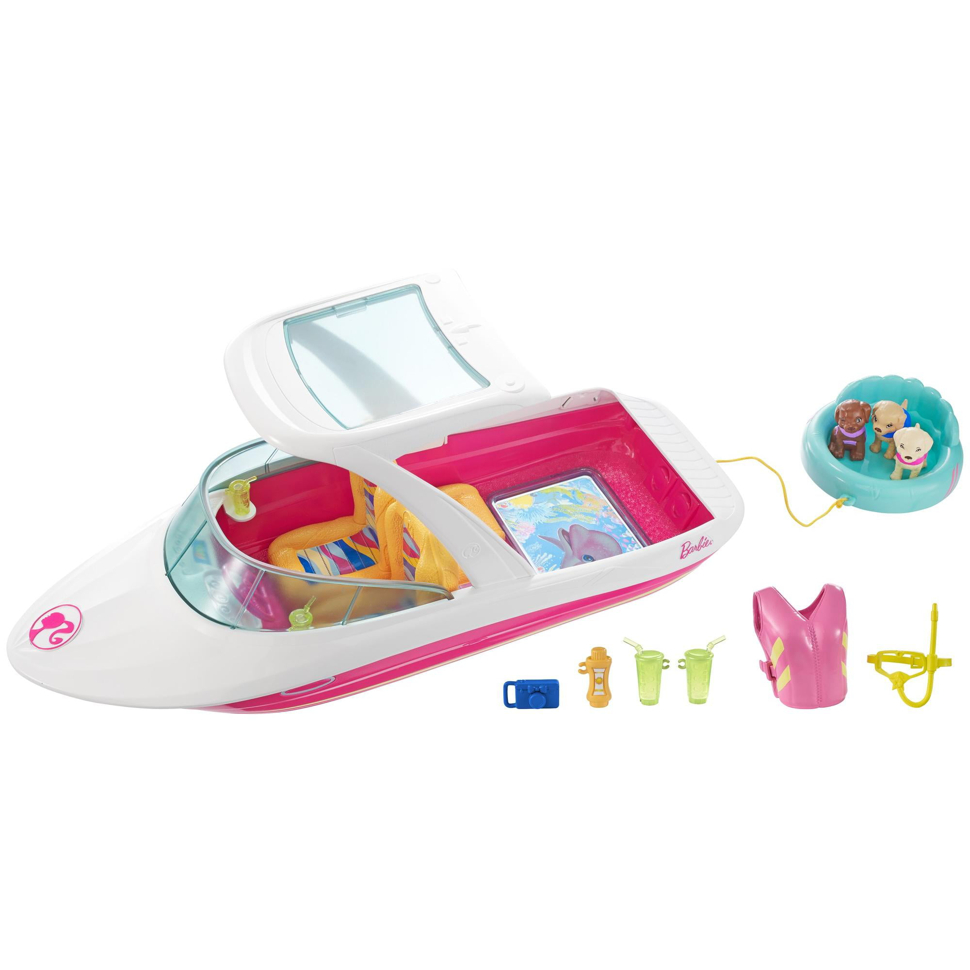 Barbie Dolphin Magic Ocean View Boat with 3-Puppies & Accessories