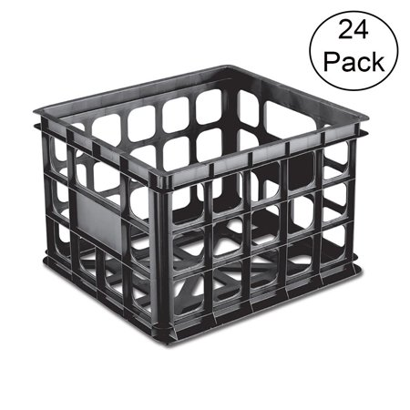 Sterilite 16929006 Plastic Black Storage Box Crate, Black (24 Pack)