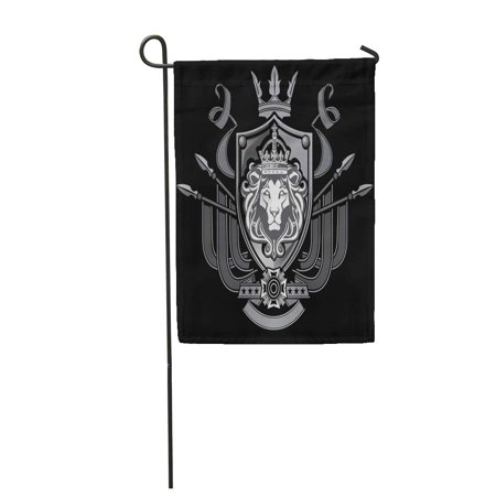 KDAGR Crown Lion Flag Crest Shield King Knight Medieval Cross Garden Flag Decorative Flag House Banner 28x40 - Medieval Crests