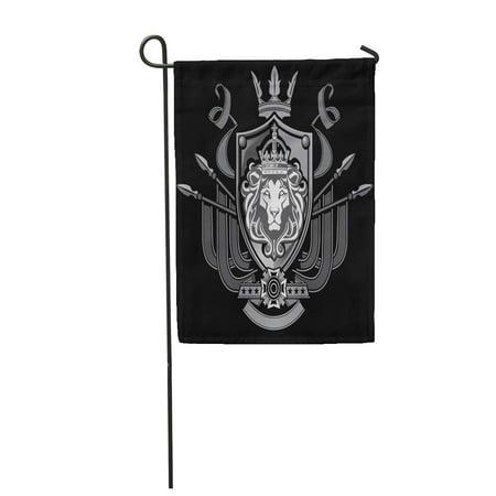 KDAGR Crown Lion Flag Crest Shield King Knight Medieval Cross Garden Flag Decorative Flag House Banner 28x40 inch - Medieval Lion