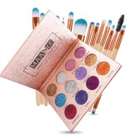 ZEDWELL 12 Colors Diamond Glitter Eyeshadow Palette With 15 Pcs Makepup Brush Set Beauty Makeup