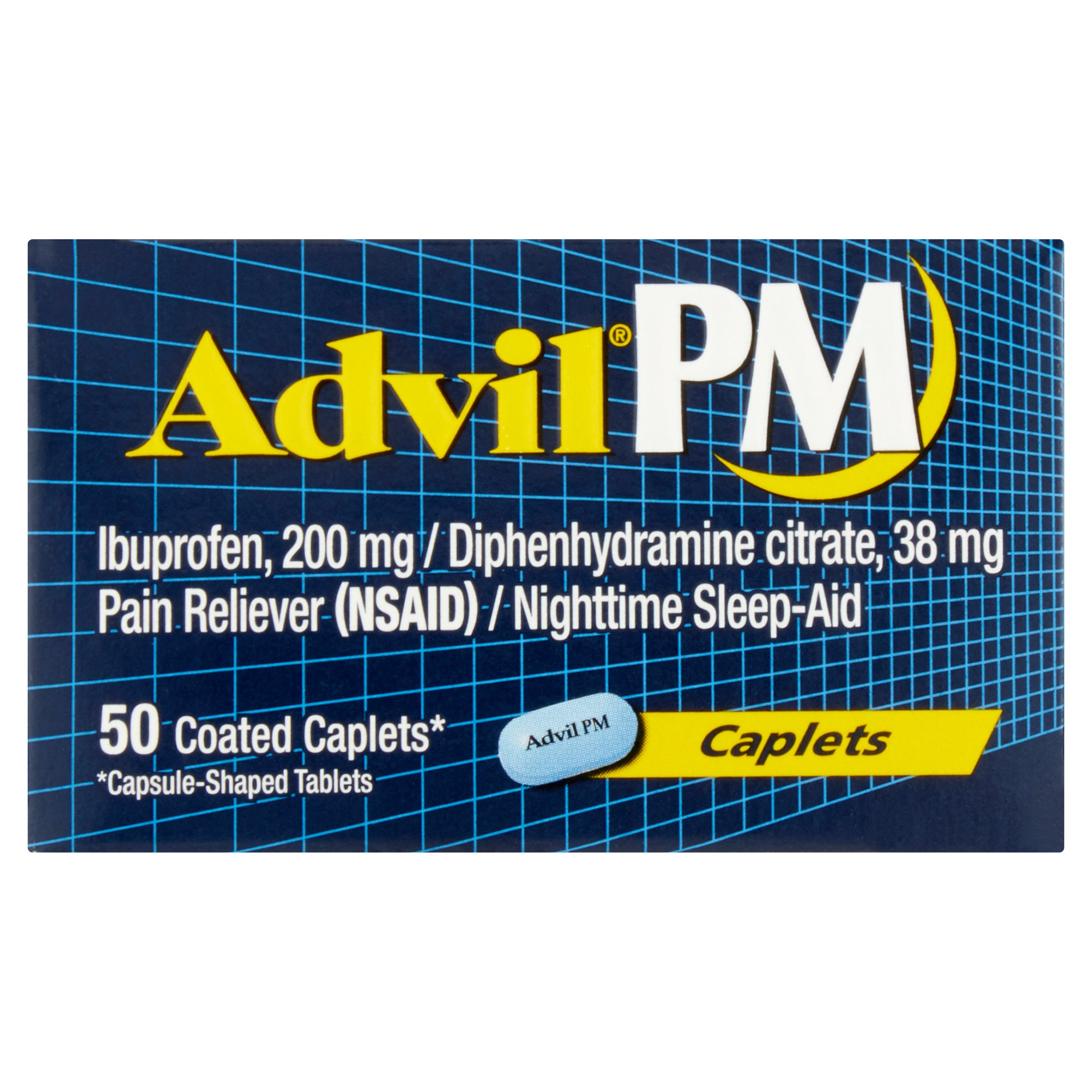 Advil PM (50 Count) Pain Reliever / Nighttime Sleep Aid Caplet, 200mg Ibuprofen, 38mg Diphenhydramine