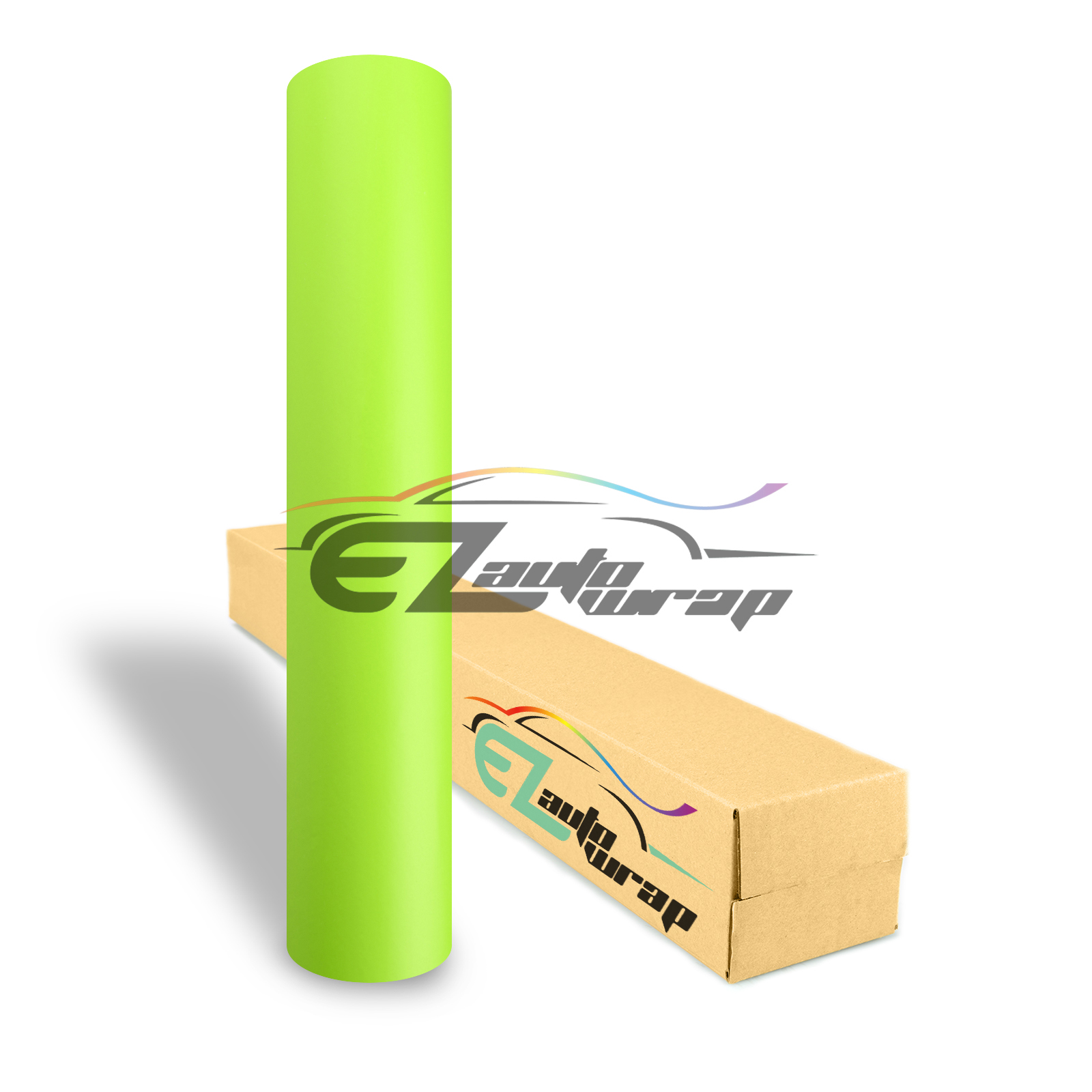 EZAUTOWRAP Matte Neon Yellow Car Vinyl Wrap Vehicle Sticker Decal Film Sheet Peel And Stick With Air Release Technology Decoration Wallpaper