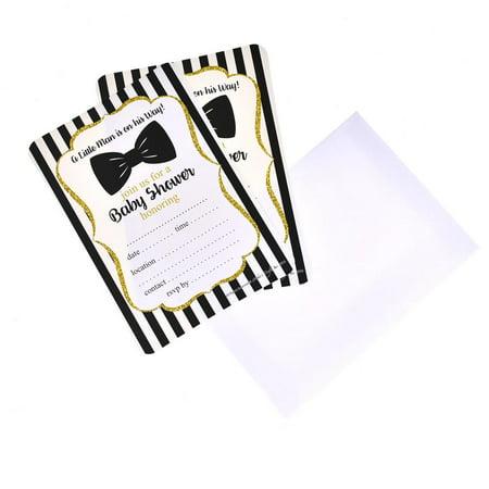 Black Bowtie Baby Shower Invitation Set, 7-Inch, 12-Piece (Black Baby Shower Invitations)