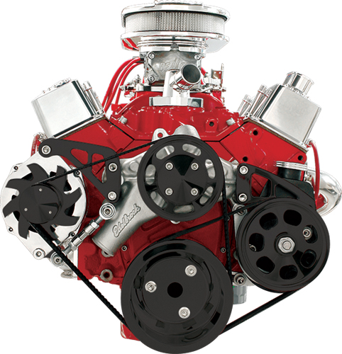 NEW BILLET SPECIALTIES SMALL BLOCK CHEVY POLISHED FRONT ENGINE SERPENTINE CONVERSION KIT WITH MIDDLE PASSENGER-SIDE ALTERNATOR MOUNTING BRACKET CRANK ALTERNATOR PULLEYS SBC WATER PUMP