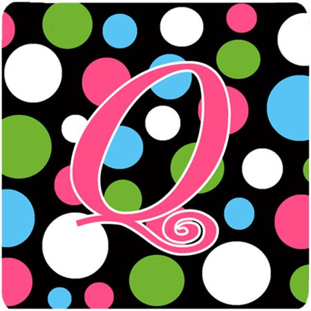 Monogram - Polkadots And Pink Foam Coasters - Set 4, Initial Letter Q
