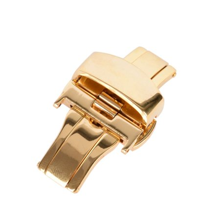 Butterfly Stainless Steel Double Push Button Watch Strap Buckle ()