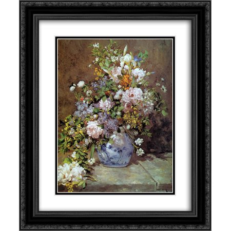 Pierre Auguste Renoir 2x Matted 20x24 Black Ornate Framed Art Print 'Spring Bouquet'