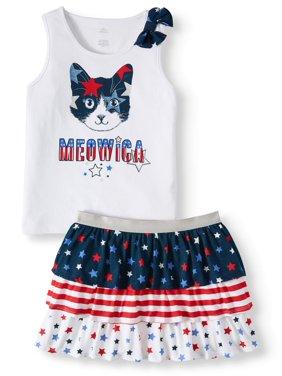 90928aebb87f Product Image Girl's Americana Graphic Bow Tank/Girl's Americana Print  Tiered Skirt (Little Girls & Big
