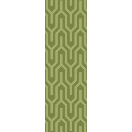 2.5' x 8' Navajo Mazes Green Hand Loomed Plush Pile Wool Area Throw Rug - Plush Wool Area Rugs