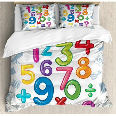 Peace Sign Boots (Number Queen Size Duvet Cover Set, Mathematical Signs and Characters School Elementary First Grade Education Pattern, Decorative 3 Piece Bedding Set with 2 Pillow Shams, Multicolor, by)