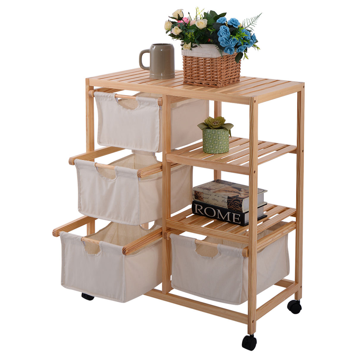 Wood Hamper 2 Section Storage Shelf Unit W/4 Fabric Drawers Home Furniture New