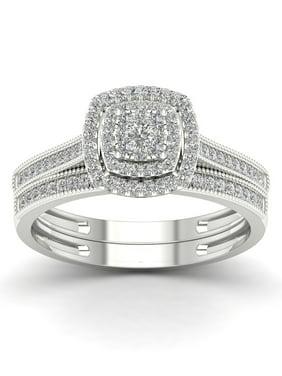 1/3Ct TDW Diamond 10K White Gold Cluster Double Halo Bridal Set