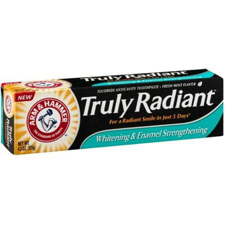 ARM & HAMMER Vraiment Radiant Blanchiment émail Renforcement de la pâte dentifrice au fluorure, menthe fraîche, 4,3 oz (pack de 2)