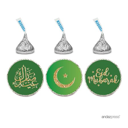 Gourmet Chocolate Favors - Chocolate Drop Labels Trio, Hershey's Kisses Party Favors, Eid Mubarak, 216-Pack, Emerald Green Muslim Holiday