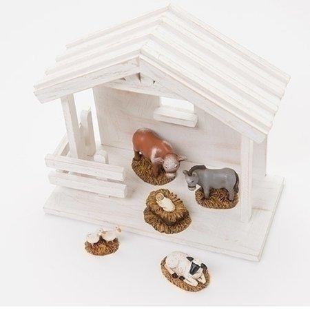 5- Piece Baby Jesus with Animlas Nativity Christmas Table Top Figure Set ()