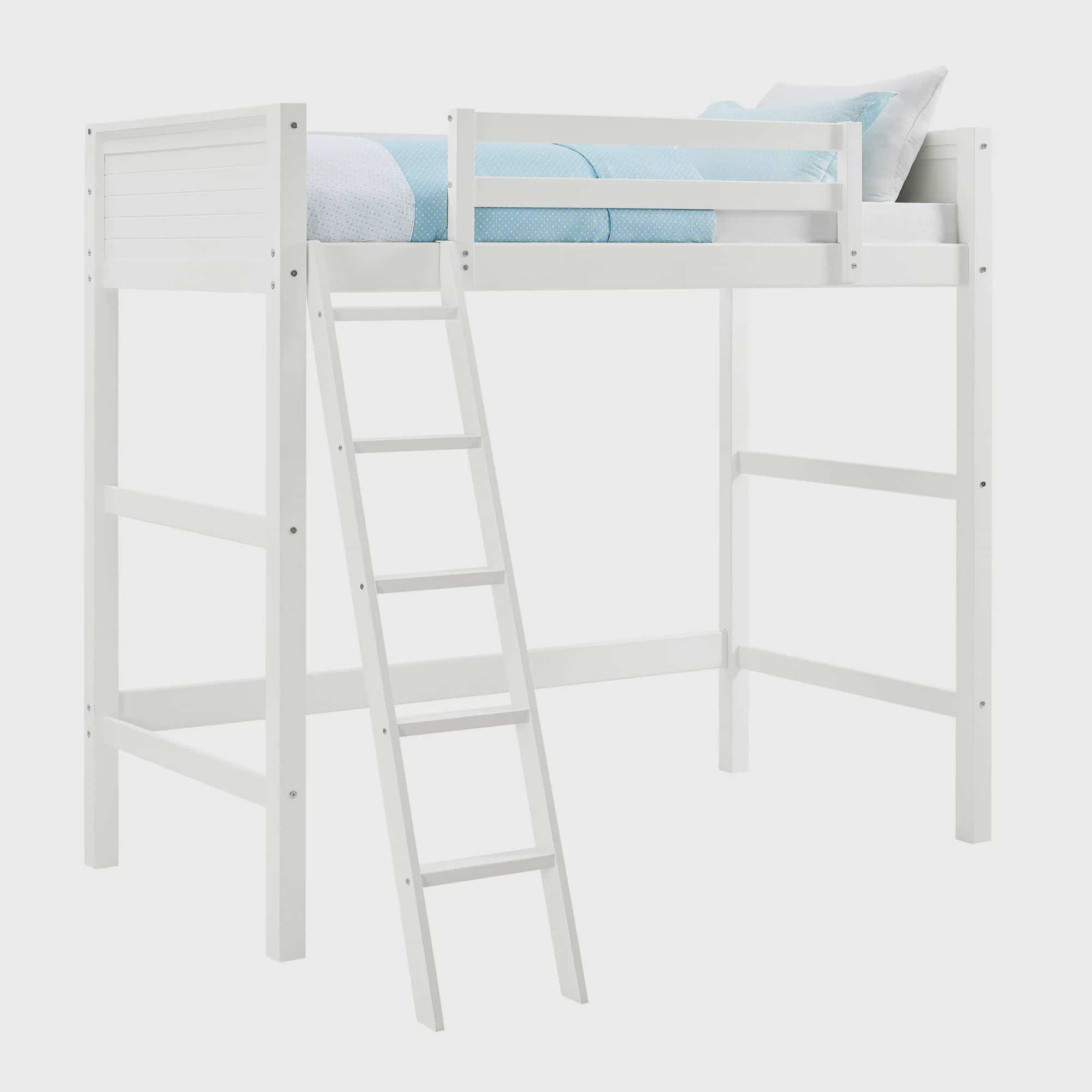 Your Zone Kids Wooden Loft Bed with Ladder, Twin, White - Walmart