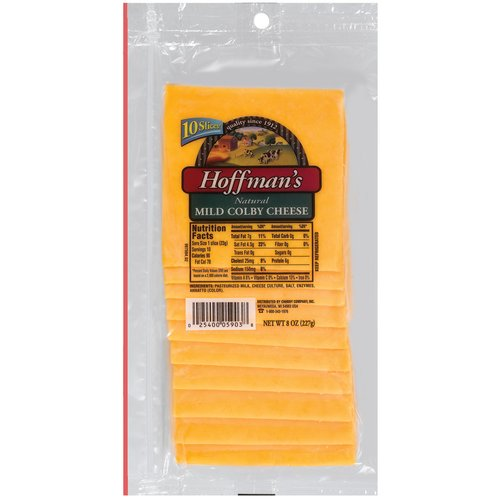 Hoffman's Natural Mild Colby Cheese Slices, 10 count