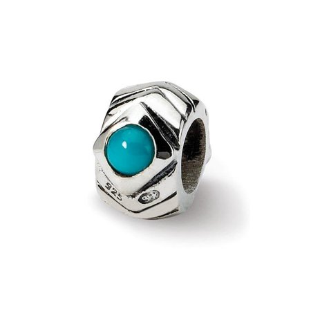 Reflection Beads QRS411 Sterling Silver Turquoise Bead, Antiqued - image 1 de 1