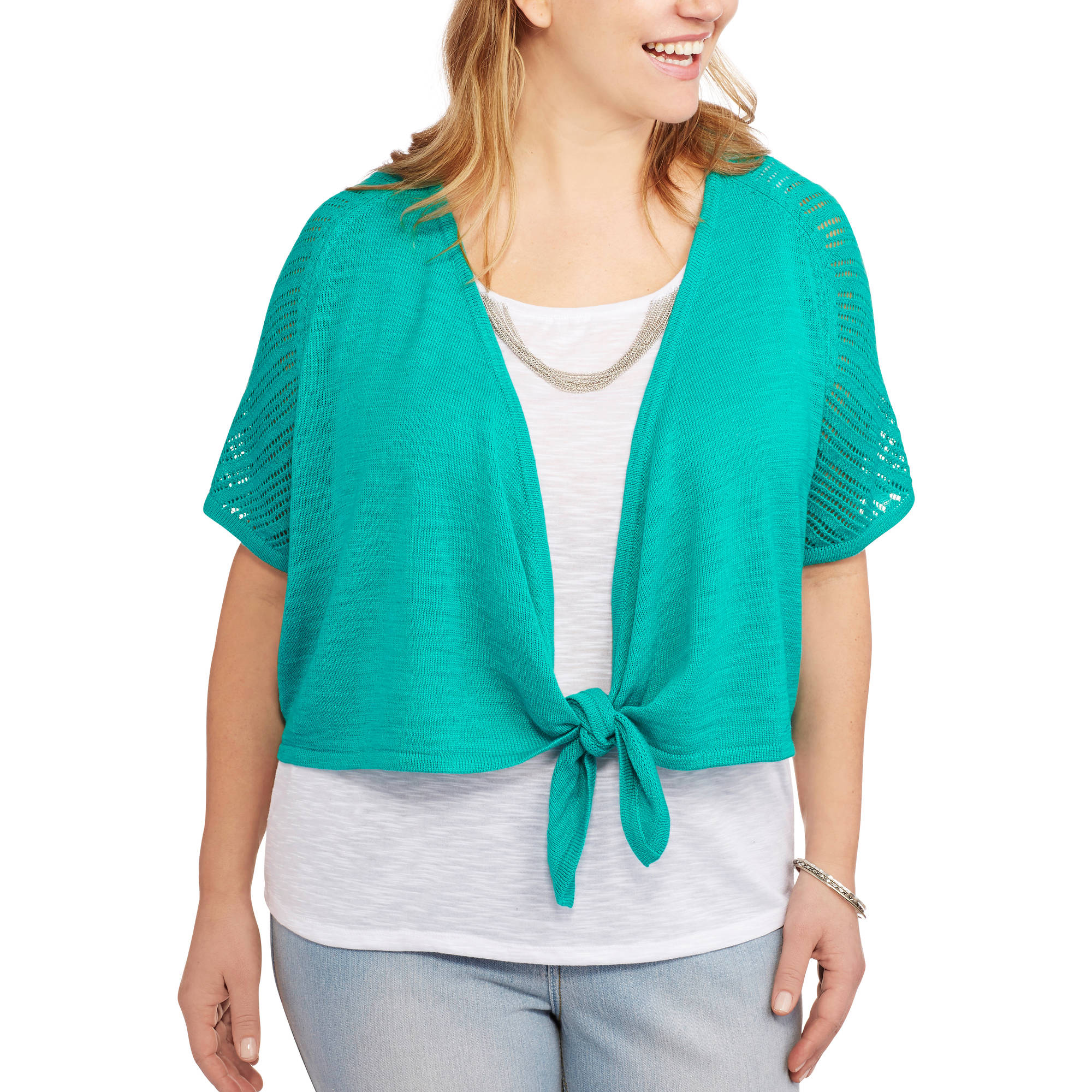 Faded Glory Women's Plus-Size Tie-Front Shrug