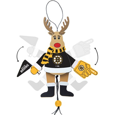 Topperscot by Boelter Brands NHL Wooden Cheering Reindeer Ornament, Boston Bruins