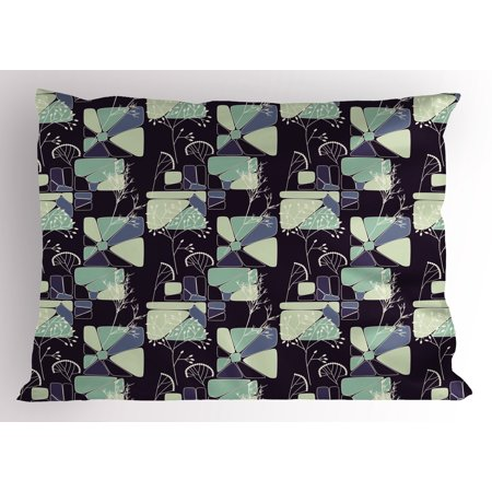 Floral Pillow Sham Geometric Soft Shapes With Flower Silhouettes Spring Summer Print  Decorative Standard King Size Printed Pillowcase  36 X 20 Inches  Indigo Pale Green Slate Blue  By Ambesonne