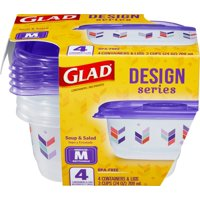 Glad Food Storage Containers - Designer Series Medium Rectangle Container - 24 Ounce - 4 Count
