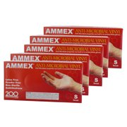 Ammex AAMV42100 5 Pack Anti-Microbial Vinyl Glove Latex Free Powder Free Small