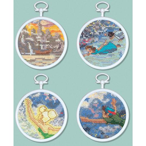 "Peter Pan Mini Vignettes Counted Cross Stitch Kit, 3"" Round 16 Count Set Of 4"