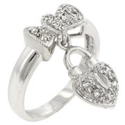 Sunrise Wholesale J2811 White Gold Rhodium Bonded Heart Locked Ribbon Ring - Size 06