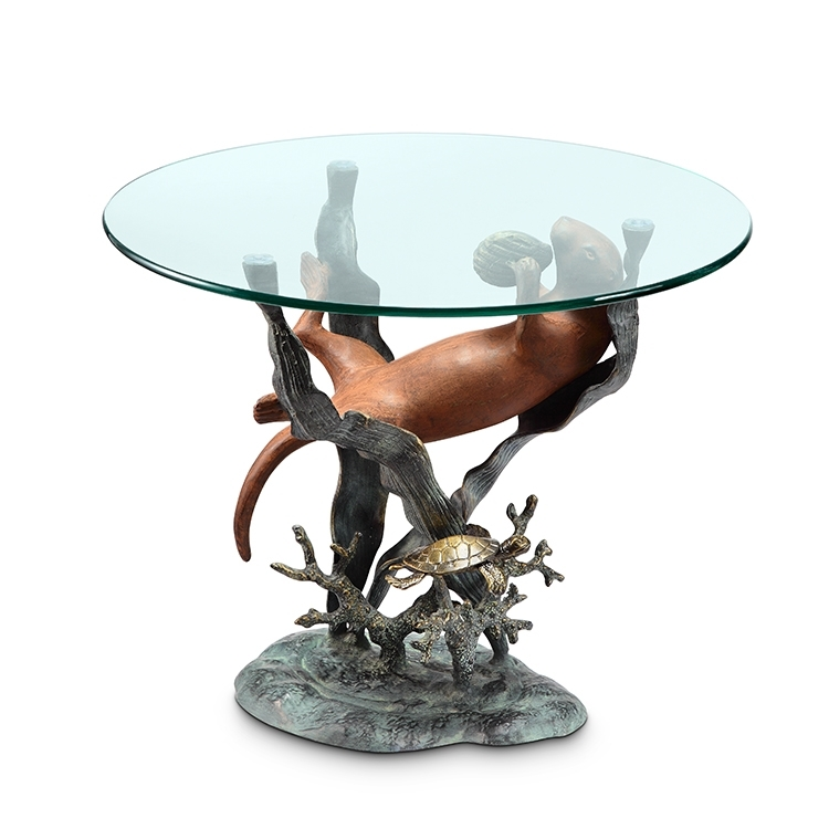 Bronze Finish Sea Otter Glass Top End Table