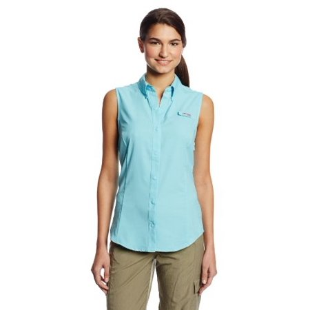 Columbia Women's Tamiami Sleeveless Shirt, Clear Blue, Large