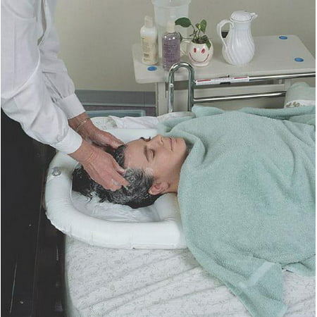 Inflatable shampoo basin, crescent