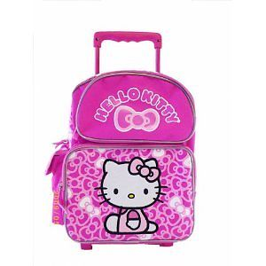 """Rolling School Bag Ribbons Black//Pink!!! New Hello Kitty  12/"""" Rolling BackPack"""