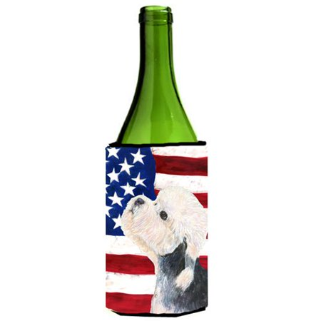 Usa American Flag With Dandie Dinmont Terrier Wine Bottle   Hugger - 24 oz. - image 1 de 1