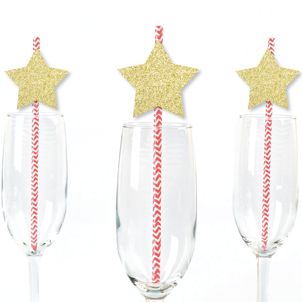 Gold Glitter Star Party Straws - No-Mess Real Gold Glitter Cut-Outs & Decorative Paper Straws - Set of 24