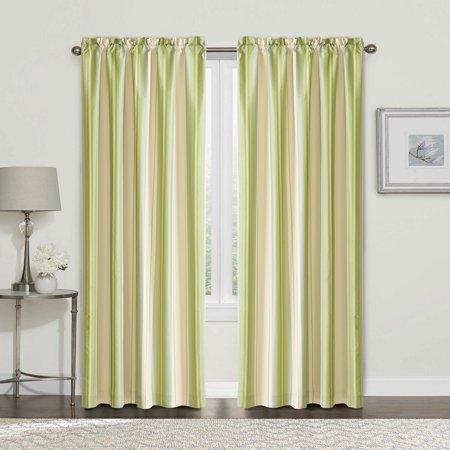 """Serenta 2 Piece Convent Garden Curtain Set, Green Stripe, 54"""" x 84"""""""