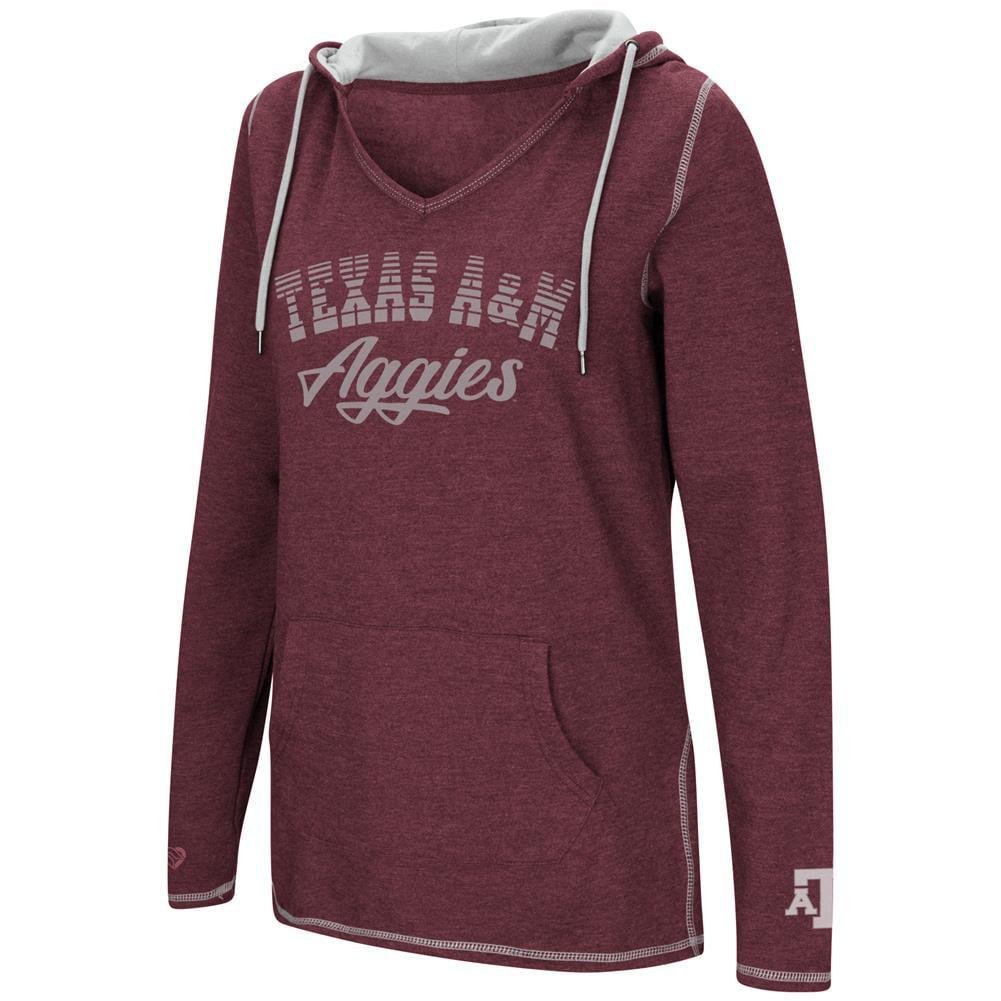 Texas A&M Aggies Ladies V-Neck Hoodie Pullover Sweatshirt
