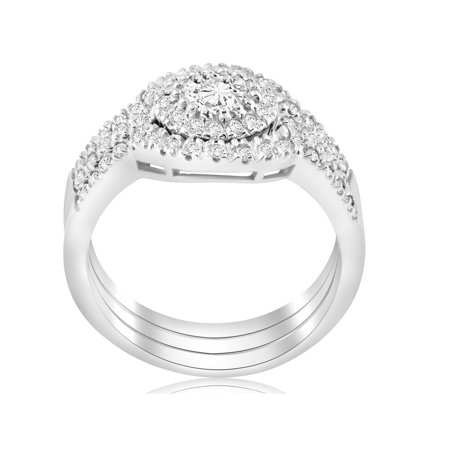 2 ct Round  Diamond Engagement Halo Wedding Ring Trio Set 14K White Gold - image 2 de 4