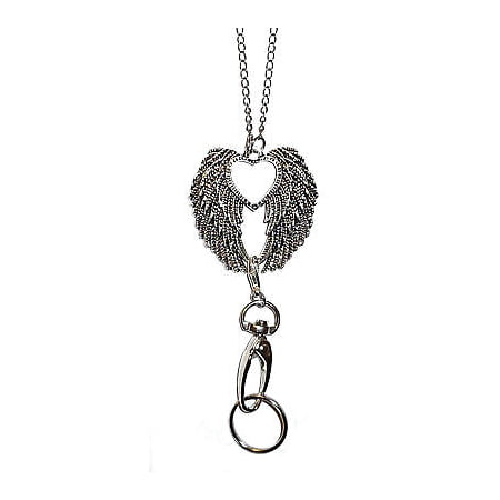 Trendy Women's Fashion Lanyard and Necklace, ID Badge Holder (Angel Wings) - Badge Necklaces