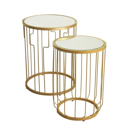 HomePop Metal Accent Table with Glass Top (Set of 2), Gold