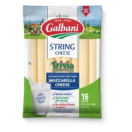 Galbani Trivia String Cheese Part Skim Mozzarella Cheese, 16 Oz, 16 Count