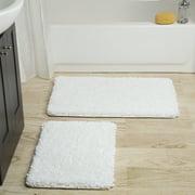 Somerset Home 2 Piece Memory Foam Bath Mat - White