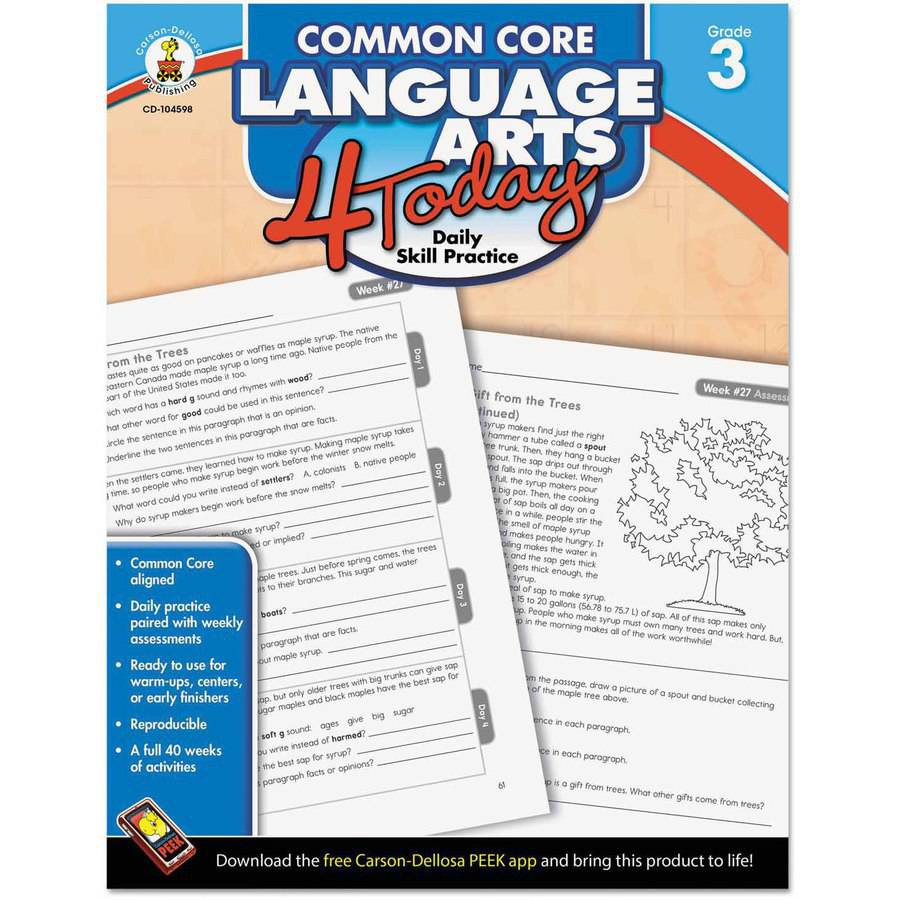 "Carson-Dellosa Publishing Common Core 4 Today Workbook, Language Arts, Grade 3"", 96 pages"
