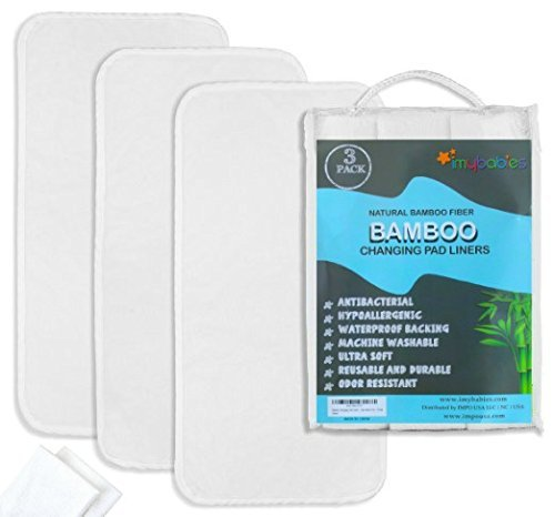 Bamboo Changing Pad Liners 3 + Washcloths 2, Ultra soft, Highly Absorbent, Waterproof, Machine Wash and Dry... by imybabies