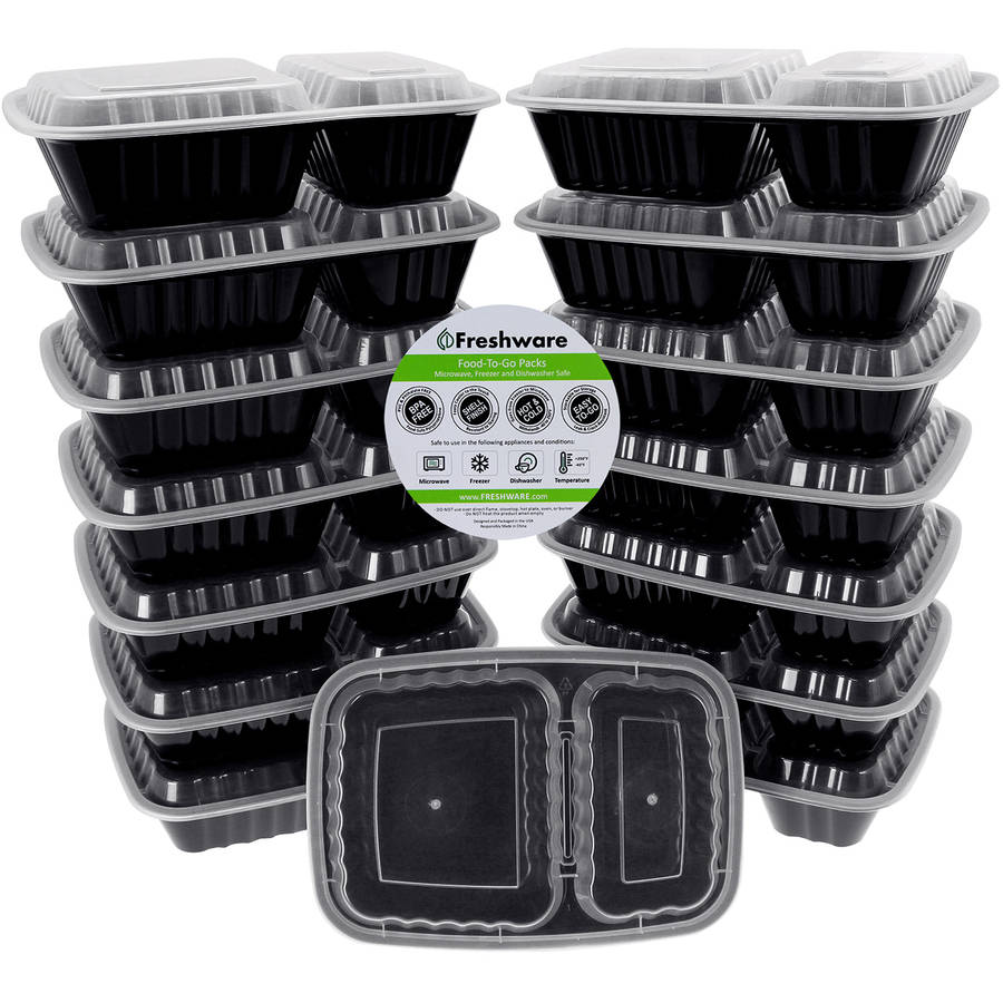 Freshware 15-Pack 2-Compartment Lunch Bento Box Reusable and Microwavable Food Container with Lids, YH-8288