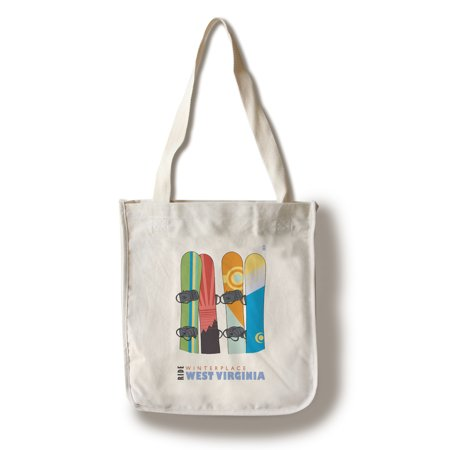 Winterplace, West Virginia - Snowboards in Snow - Lantern Press Poster  (100% Cotton Tote Bag - Reusable)