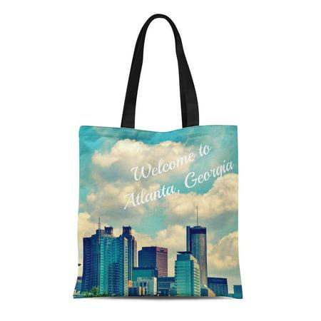SIDONKU Canvas Tote Bag Blue Sack Welcome to Atlanta Ga Georgia Souvenir Turquoise Reusable Handbag Shoulder Grocery Shopping Bags