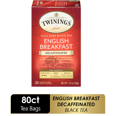 (4 Boxes) Twinings of London English Breakfast Decaffeinated 100% Pure Black Tea , 20 Ct., 1.41 oz.